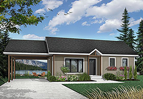 Bungalow, Country, One-Story, Ranch House Plan 65009 with 2 Beds, 1 Baths Elevation