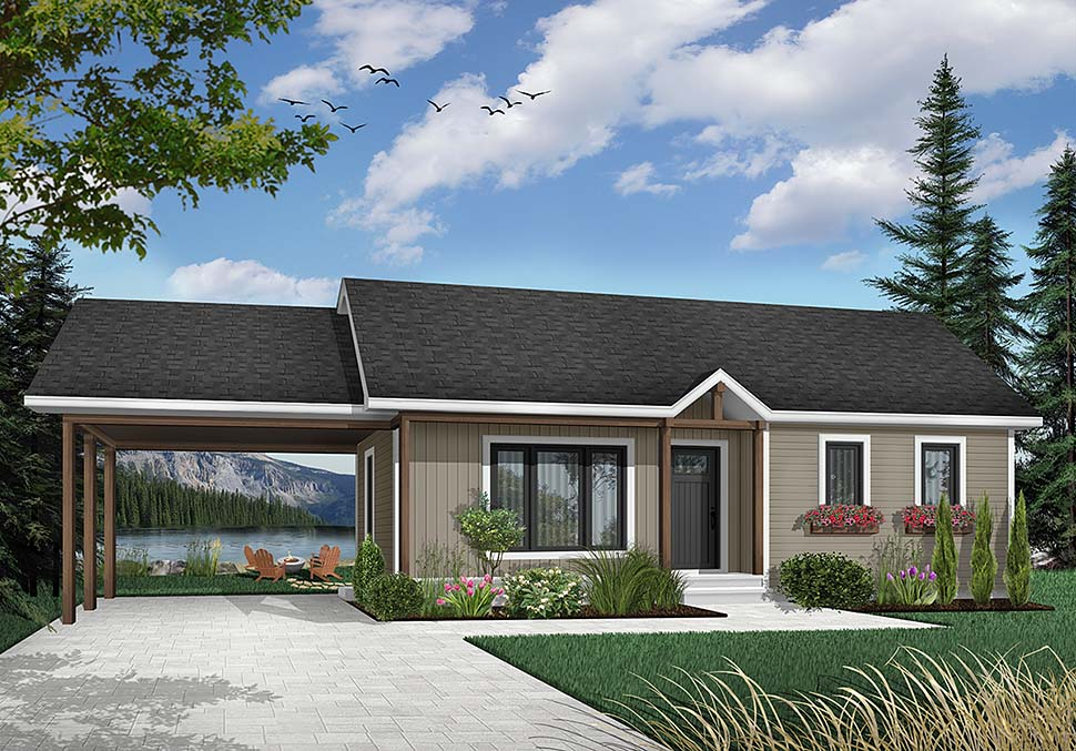 Bungalow , Country , One-Story , Ranch , Elevation of Plan 65009