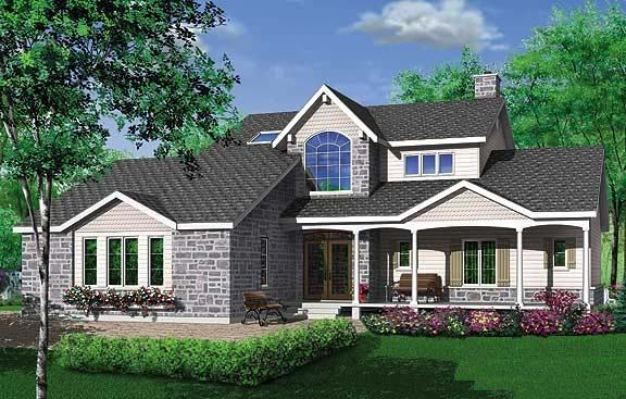 House Plan 65012 | Country Traditional Victorian Style Plan with 1922 Sq Ft, 3 Bedrooms, 3 Bathrooms Rear Elevation