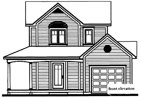 Country Farmhouse Rear Elevation of Plan 65013