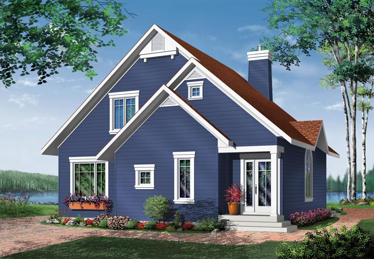 Bungalow Contemporary Victorian Rear Elevation of Plan 65015