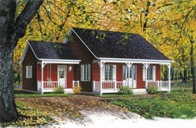 Cabin , Country , Ranch , Southern House Plan 65019 with 2 Beds, 1 Baths Elevation