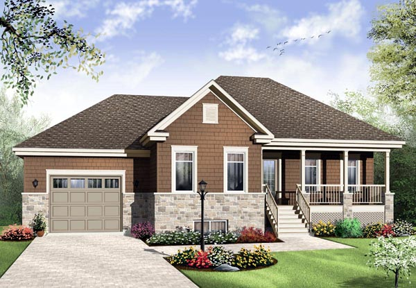 House Plan 65021 | Country Style Plan with 1963 Sq Ft, 3 Bedrooms, 2 Bathrooms, 1 Car Garage Elevation