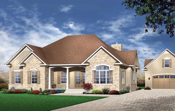 Traditional House Plan 65029 with 3 Beds, 2 Baths Elevation