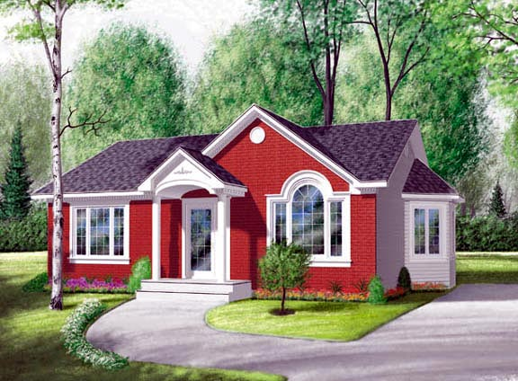 Bungalow Narrow Lot One-Story Traditional Elevation of Plan 65030