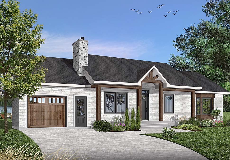 One-Story, Ranch House Plan 65032 with 3 Beds, 1 Baths, 1 Car Garage Elevation