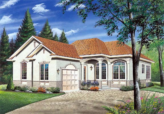 European, Florida, Narrow Lot, One-Story House Plan 65035 with 2 Beds, 1 Baths, 1 Car Garage Elevation