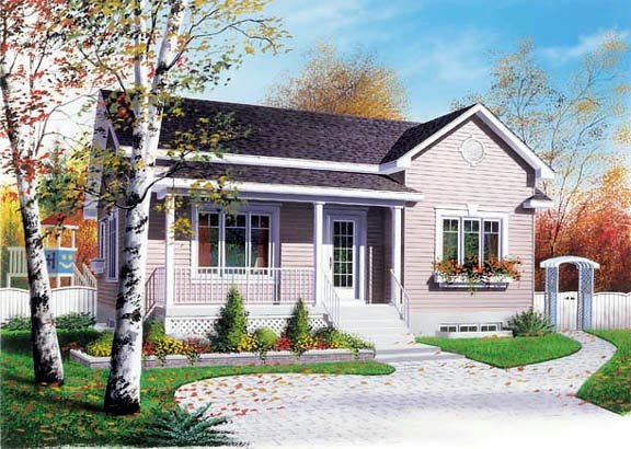 House Plan 65038 | Ranch Traditional Style Plan with 1090 Sq Ft, 3 Bedrooms, 1 Bathrooms Elevation