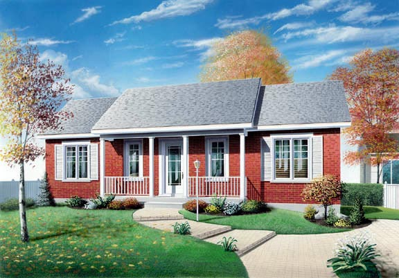 One-Story, Ranch House Plan 65039 with 3 Beds, 1 Baths Elevation