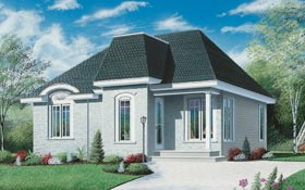 Contemporary, European, One-Story House Plan 65040 with 2 Beds, 1 Baths Front Elevation