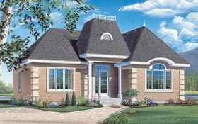 Contemporary , European House Plan 65043 with 2 Beds, 1 Baths Elevation
