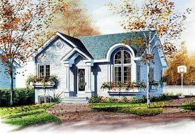 European House Plan 65048 with 2 Beds, 1 Baths Elevation