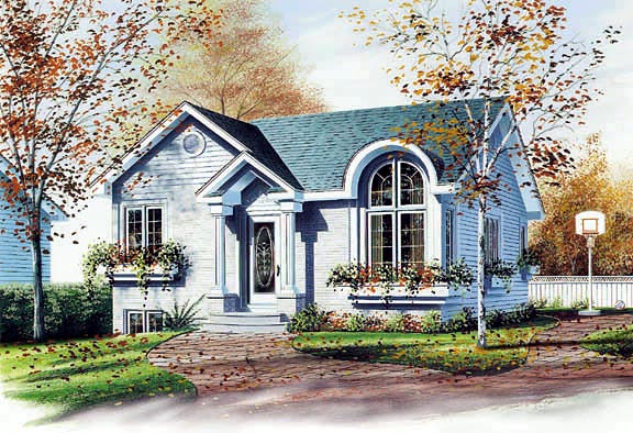 European, Narrow Lot, One-Story House Plan 65048 with 2 Beds, 1 Baths Elevation