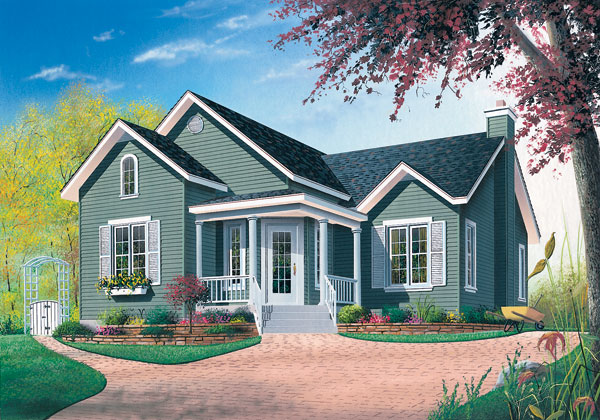 Cottage, Country House Plan 65050 with 2 Beds, 1 Baths Elevation