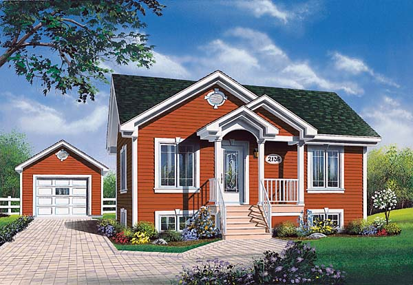 Bungalow , Country , Traditional House Plan 65052 with 2 Beds, 1 Baths, 1 Car Garage Elevation