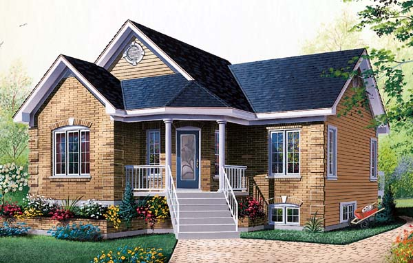 Country, Traditional House Plan 65056 with 2 Beds, 1 Baths Front Elevation