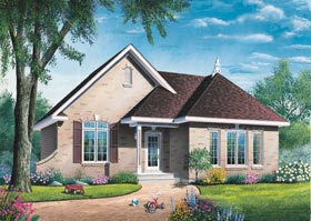 House Plan 65058 | Contemporary Traditional Style Plan with 1087 Sq Ft, 2 Bedrooms, 1 Bathrooms Elevation