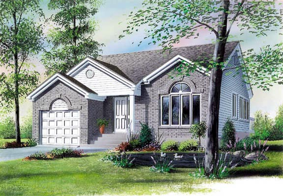 Narrow Lot, One-Story, Traditional House Plan 65063 with 2 Beds, 1 Baths, 1 Car Garage Front Elevation