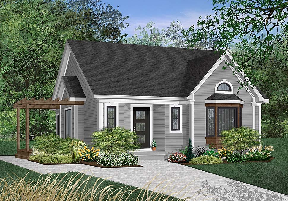 Ranch House Plan 65064 with 2 Beds, 1 Baths Elevation
