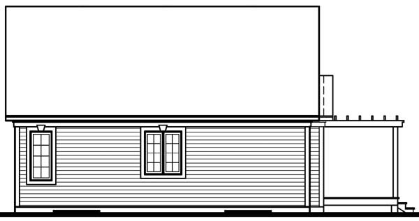 Ranch House Plan 65064 with 2 Beds, 1 Baths Rear Elevation
