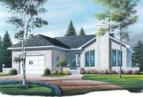 European, One-Story, Traditional House Plan 65072 with 2 Beds, 1 Baths, 1 Car Garage Elevation