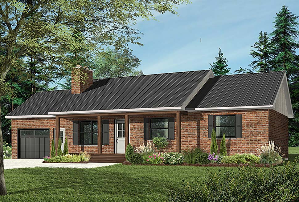 Bungalow, One-Story, Ranch House Plan 65075 with 3 Beds, 1 Baths, 1 Car Garage Elevation
