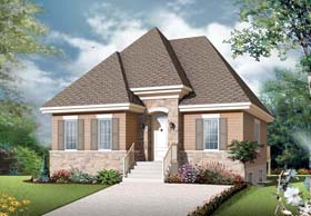 European House Plan 65076 with 4 Beds, 2 Baths Elevation