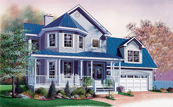 Country , Victorian House Plan 65079 with 3 Beds, 3 Baths, 2 Car Garage Elevation