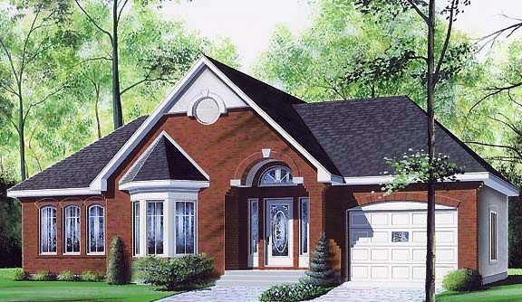 European, One-Story, Traditional House Plan 65080 with 3 Beds, 1 Baths, 1 Car Garage Elevation