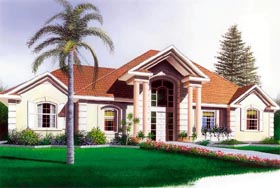 House Plan 65083 | Colonial, European, Florida Style House Plan with 1742 Sq Ft, 3 Bed, 2 Bath, 2 Car Garage Elevation