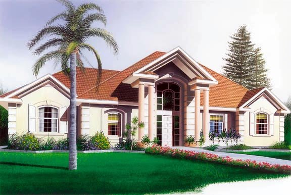 Colonial, European, Florida House Plan 65083 with 3 Beds , 2 Baths , 2 Car Garage Elevation