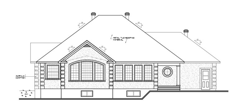 Colonial, European, Florida House Plan 65083 with 3 Beds, 2 Baths, 2 Car Garage Rear Elevation
