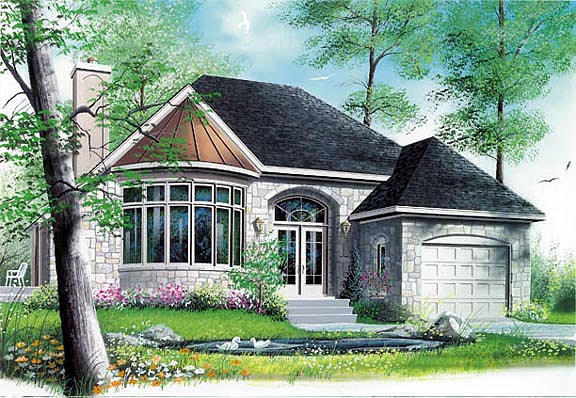 House Plan 65084 | European, Victorian Style House Plan with 1208 Sq Ft, 1 Bed, 1 Bath, 1 Car Garage Elevation