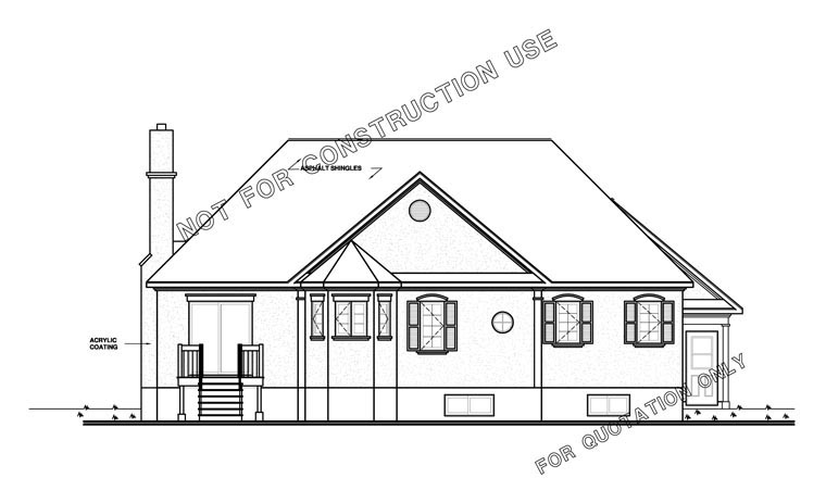 Traditional Victorian Rear Elevation of Plan 65085