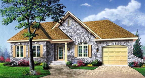 European, One-Story, Traditional House Plan 65093 with 2 Beds, 1 Baths, 1 Car Garage Elevation
