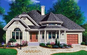 House Plan 65094 | Bungalow, Country, Victorian Style House Plan with 1157 Sq Ft, 2 Bed, 1 Bath, 1 Car Garage Elevation