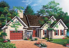 House Plan 65095 | Ranch, Traditional Style House Plan with 1460 Sq Ft, 3 Bed, 1 Bath, 1 Car Garage Elevation