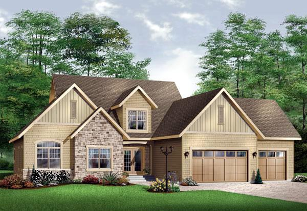 Traditional House Plan 65105 with 3 Beds, 4 Baths, 3 Car Garage Elevation