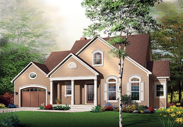Traditional House Plan 65108 with 4 Beds, 4 Baths, 1 Car Garage Elevation