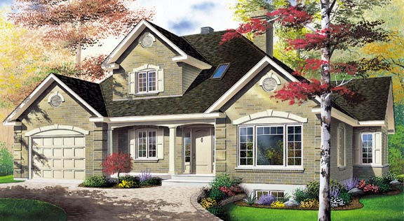 European, Traditional House Plan 65115 with 3 Beds, 2 Baths, 1 Car Garage Elevation
