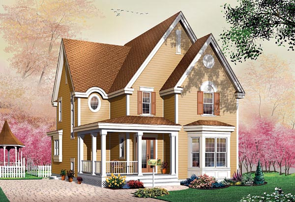 Narrow Lot Victorian Elevation of Plan 65121