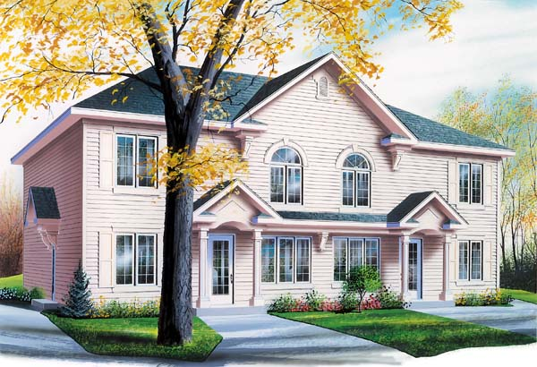 Traditional , Country Multi-Family Plan 65130 with 8 Beds, 4 Baths Elevation
