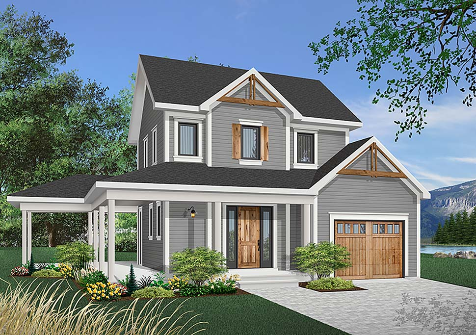 Country Farmhouse Elevation of Plan 65134