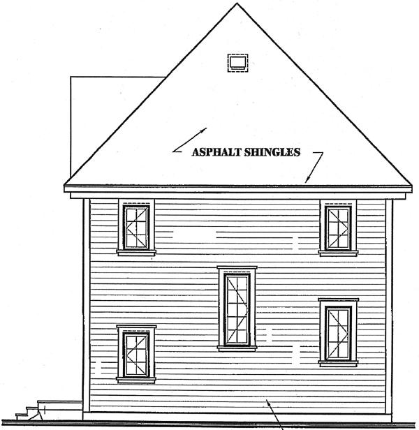 Country Farmhouse Rear Elevation of Plan 65134