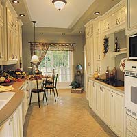 The kitchen is conveniently open to both the breakfast area and dining room.