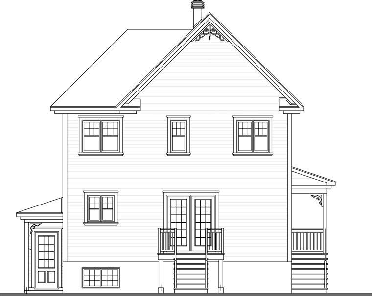 Country Rear Elevation of Plan 65150