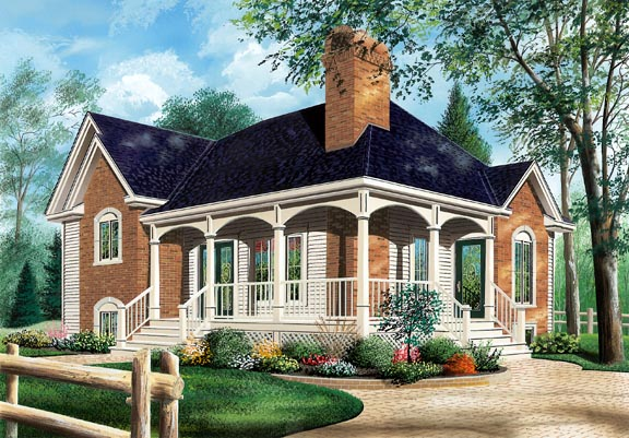 European House Plan 65152 with 3 Beds, 1 Baths Elevation