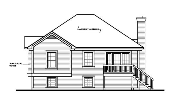 Victorian House Plan 65156 with 2 Beds, 1 Baths, 1 Car Garage Rear Elevation