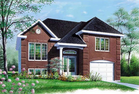House Plan 65158 with 2 Beds, 1 Baths, 1 Car Garage Elevation
