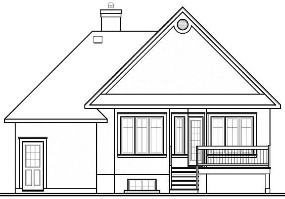 Traditional House Plan 65170 with 2 Beds, 1 Baths, 1 Car Garage Rear Elevation